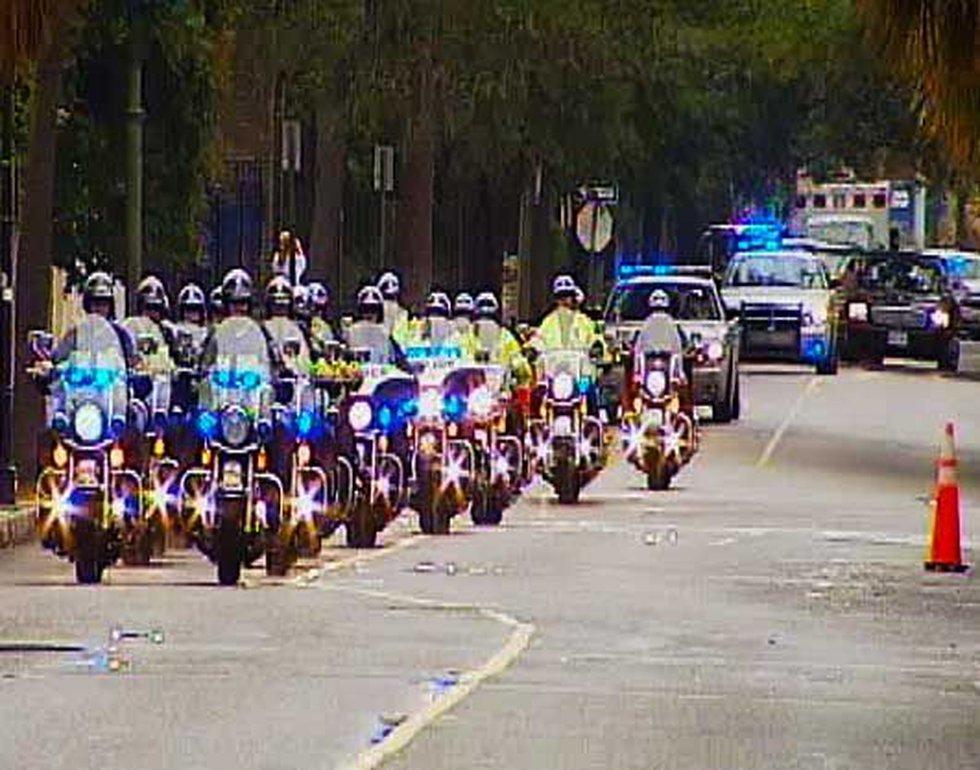 Vice President Joe Biden's motorcade in downtown Charleston.