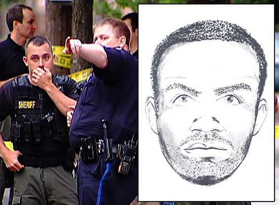 A sketch of the shooting suspect.