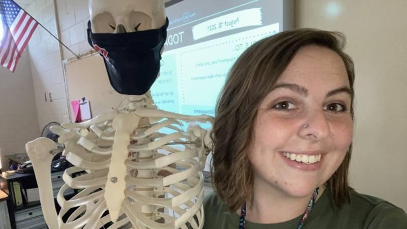 Third year Stratford High School science teacher Alaina Gresh says she loves teaching anatomy...