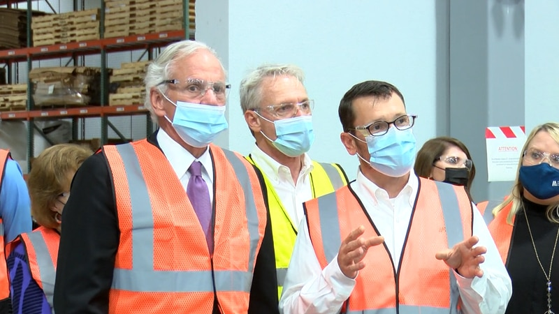 South Carolina Governor Henry McMaster tours a manufacturing facility in Summerville.