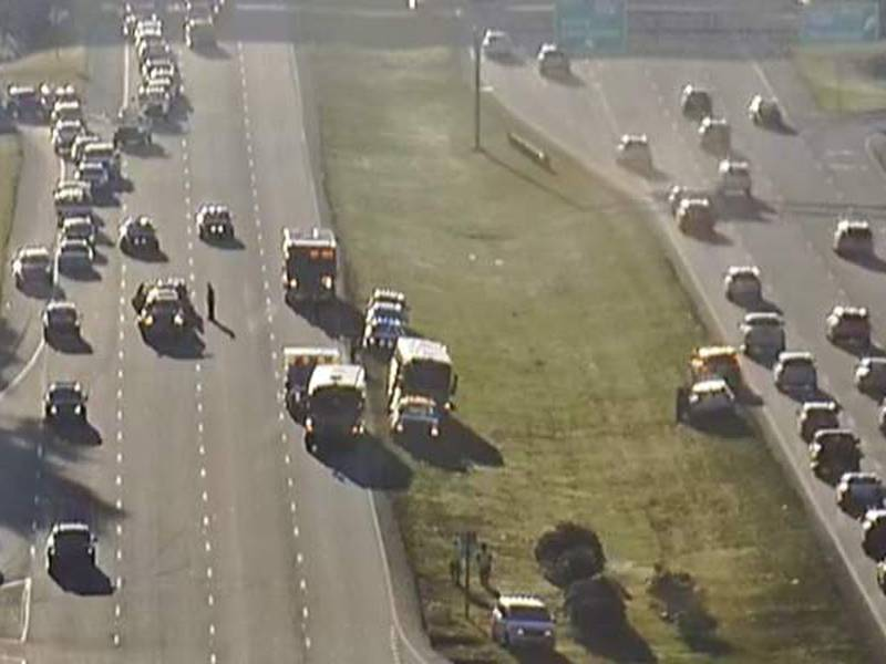 Three left lanes of Glenn McConnell Parkway headed toward Bees Ferry Road were blocked as of...