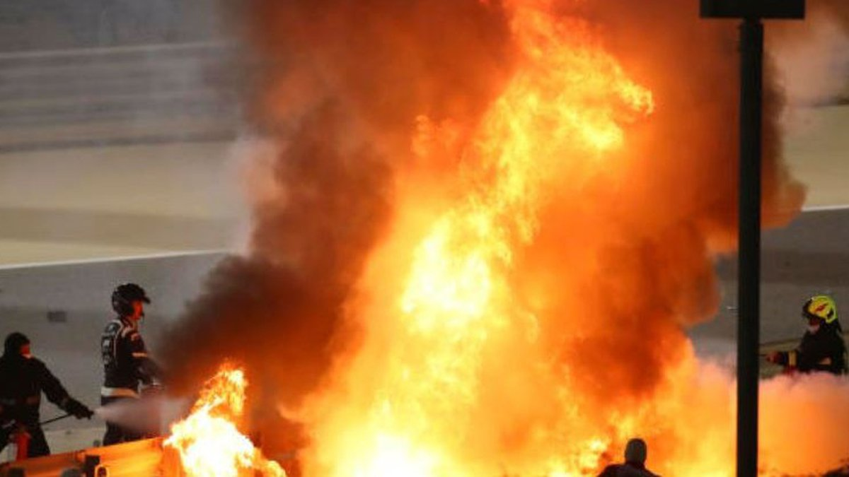 F1 driver Romain Grosjean escapes after car crashes, splits in half and bursts into flames at...