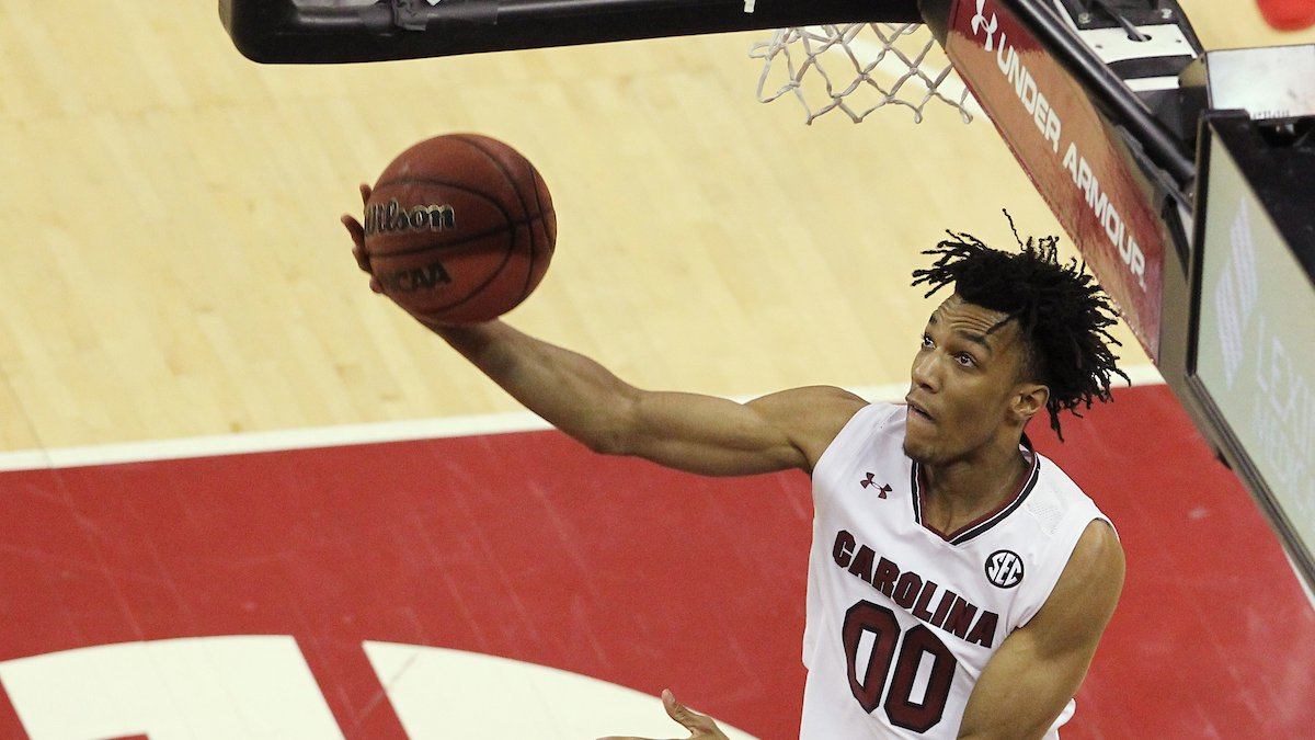 South Carolina's A.J. Lawson drops off two points against Arkansas during second-half action in...
