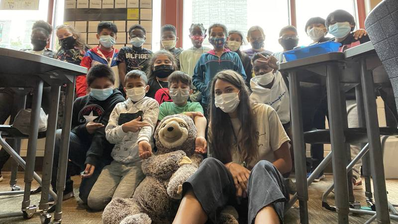 Fifth grade Pinehurst Elementary school teacher Samantha Krasevic has a diverse group of 20...