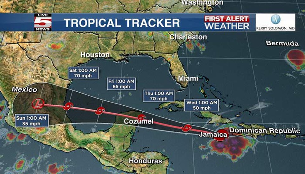 Grace could be near hurricane strength when it approaches the Yucatan coast of Mexico late...