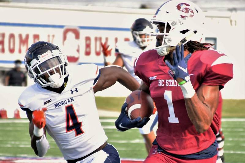 Corey Fields Jr. passed for three touchdowns and South Carolina State had two defensive scores...