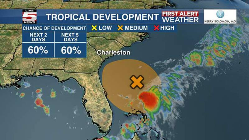 As of 8 a.m. Saturday, the National Hurricane Center says there is a 60% chance a disturbance...