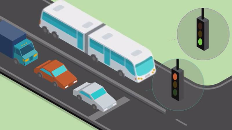 About half of the 20-mile rapid transit line is expected to include bus-only lanes which will...