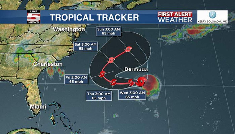 The center of Henri should pass well to the south of Bermuda later Tuesday and Tuesday night.