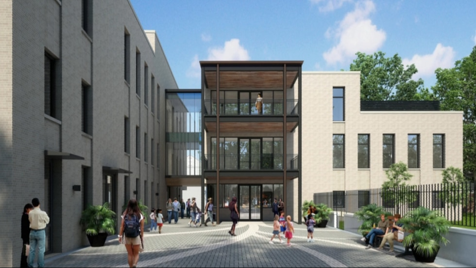 Maginnis says the new building is replacing the nearly 70-year-old building that used to stand...
