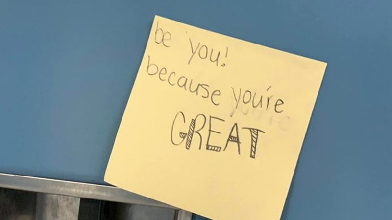 Sticky notes on lockers greeted students in Kershaw Co.