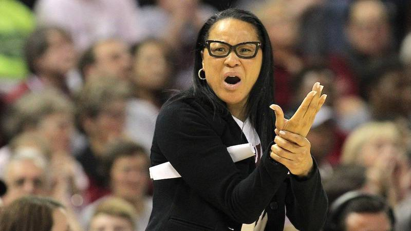 South Carolina head coach Dawn Staley can't believe Missouri wasn't called for a foul during...