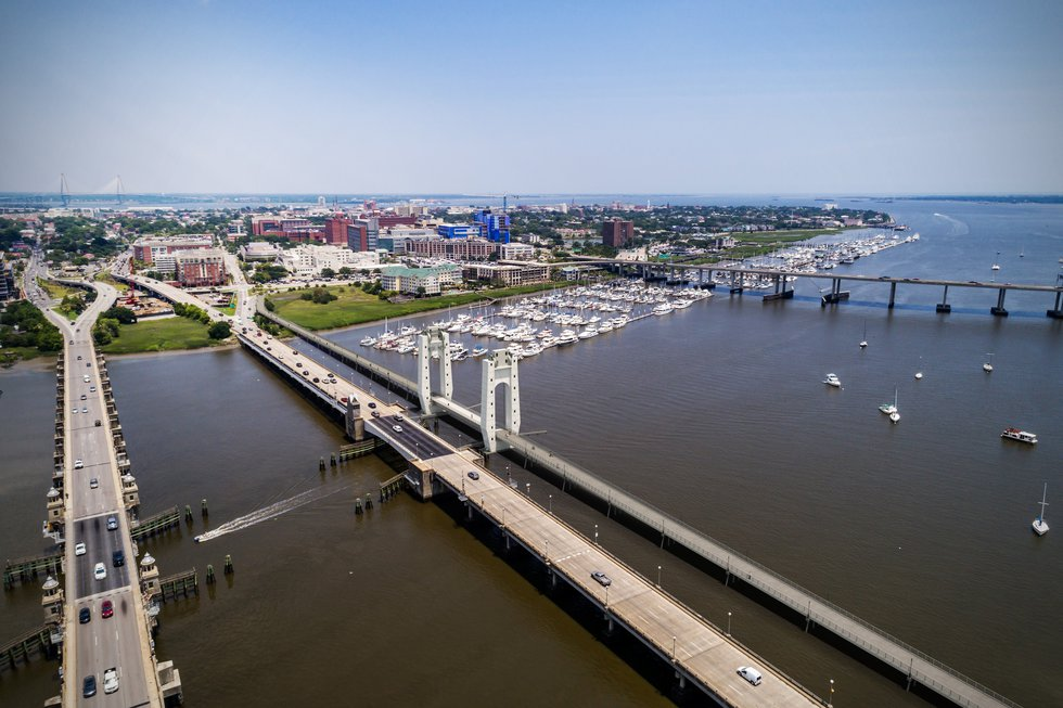 An overhead view shows the proposed bridge next to the current Ashley River Bridge