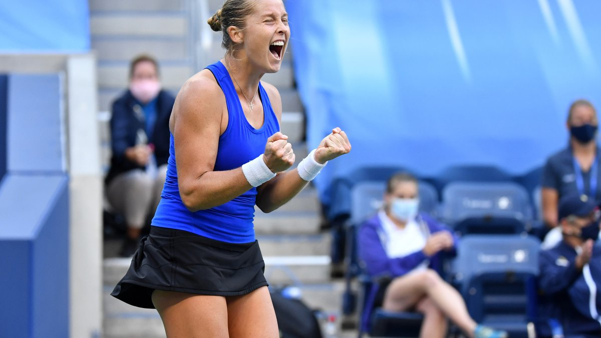 September 6, 2020 - Shelby Rogers reacts to beating Petra Kvitova during a women's singles...