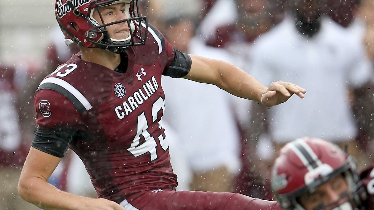 South Carolina's Parker White follows his field-goal attempt against Missouri during...