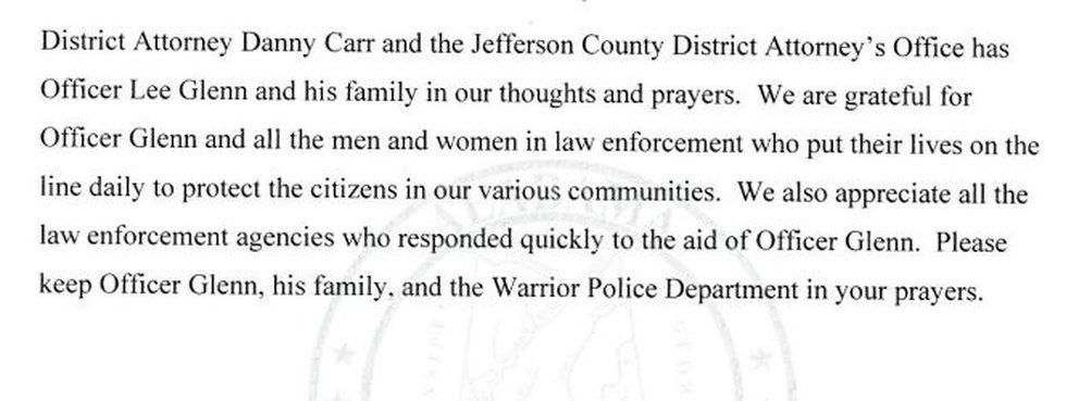 DA Danny Carr releases statement
