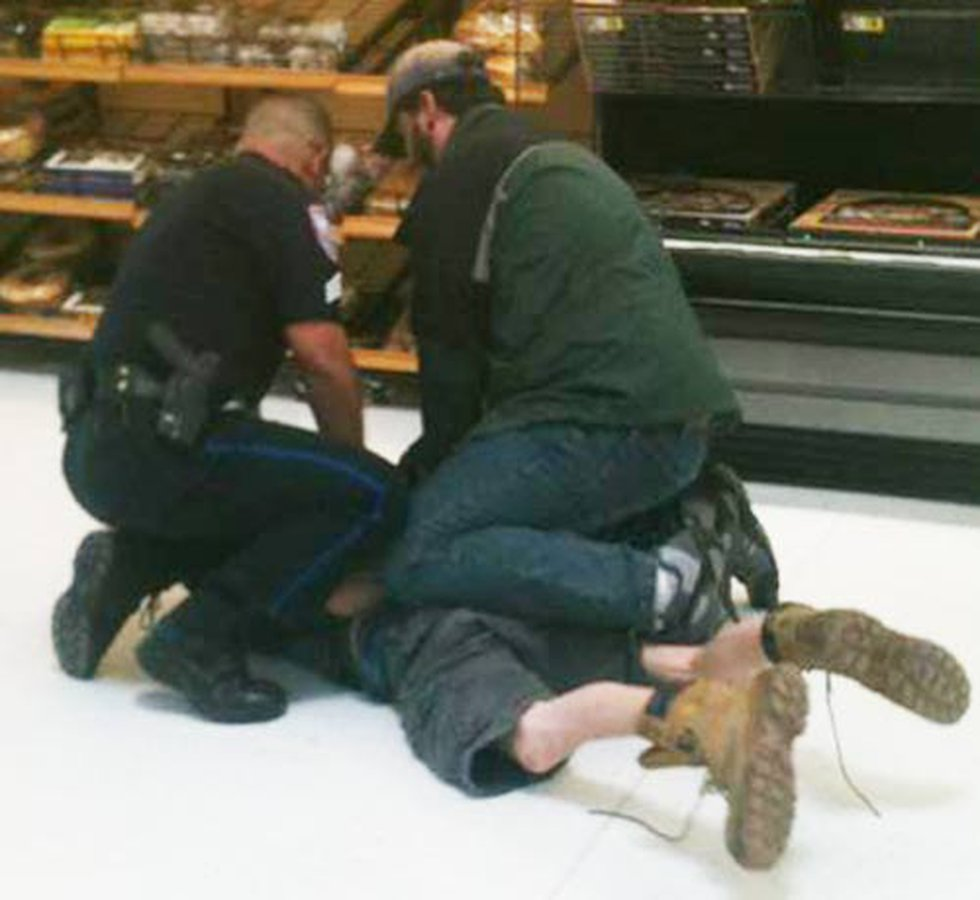 Police arrest the suspect at the Goose Creek Walmart (Photo source: Billy Blevins)