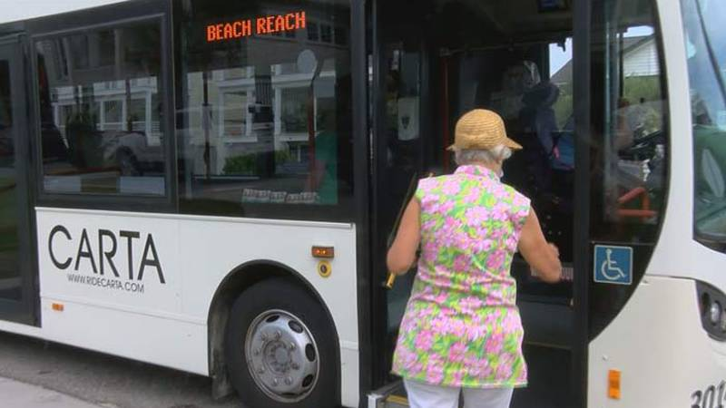CARTA's Beach Reach Shuttle takes beachgoers from Towne Centre in Mount Pleasant over to the...