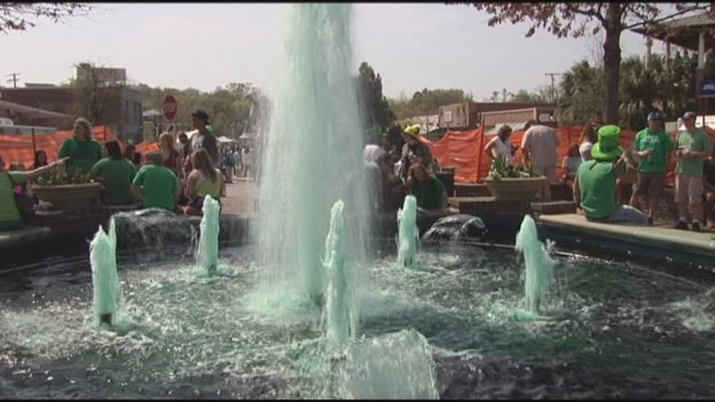 The Fountain at Five Points dyed green for St. Patrick's Day (Source: WIS)