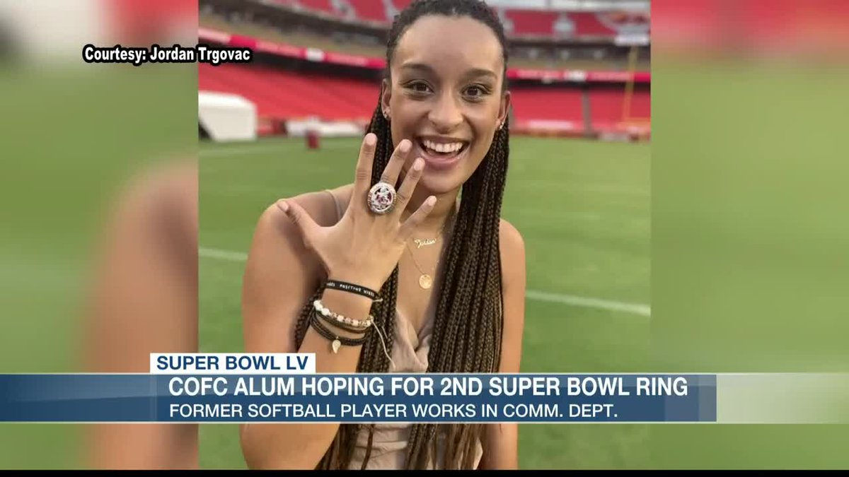 Former CofC softball player Jordan Trgovac is looking to win her 2nd Super Bowl ring this...