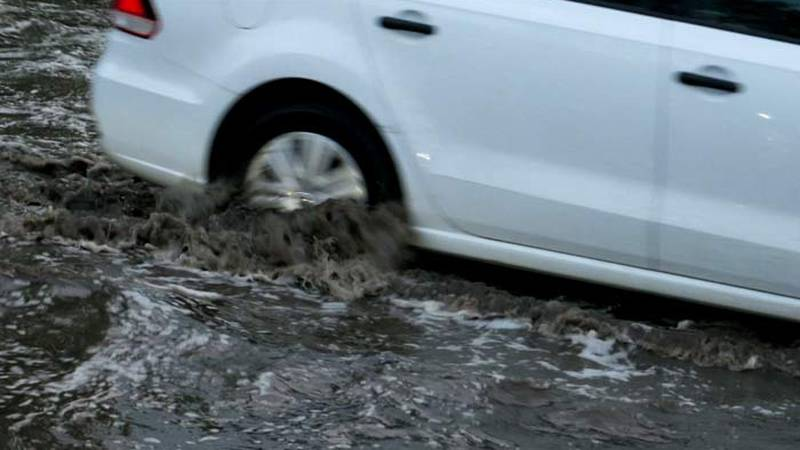 Law enforcement agencies are monitoring roads for possible flooding because of heavy rains.