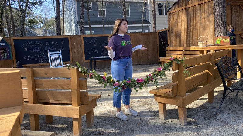 Katie Stagliano, founder of Katie's Krops, speaks to a crowd before the ribbon cutting on her...