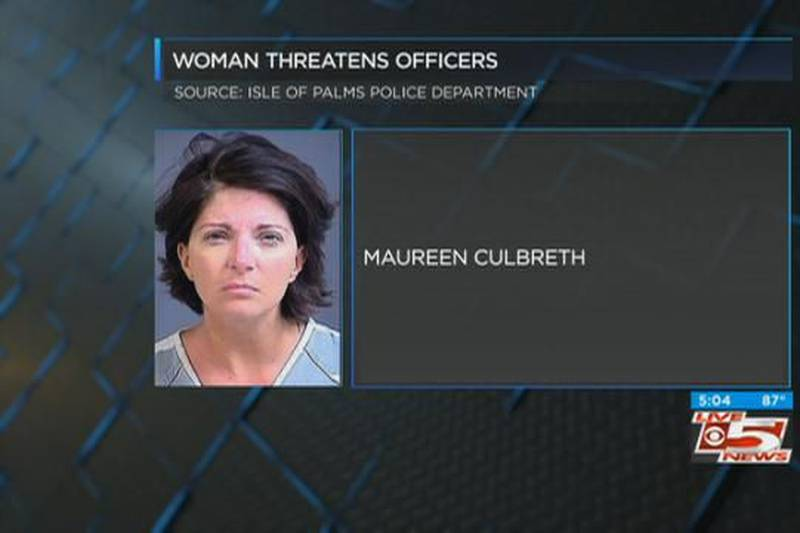 Dash-cam video released of woman threatening to kill officers 'like a vampire'