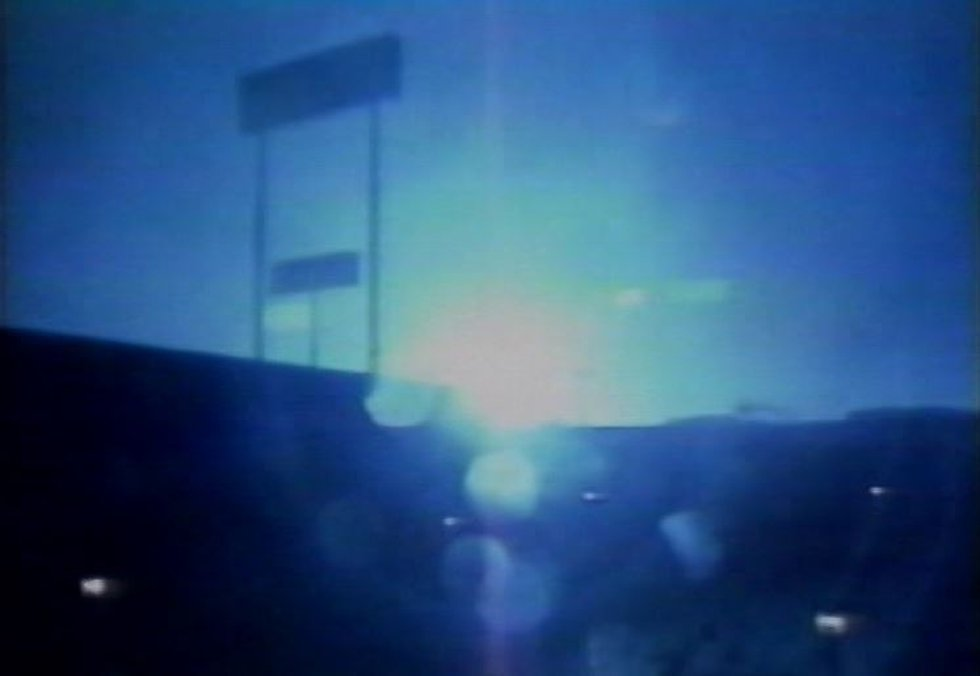 A transformer explodes during strong winds in Charleston as Hurricane Hugo makes landfall just...