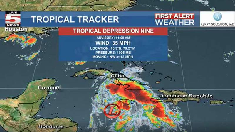The year's ninth tropical depression has formed in the Caribbean, according to the National...