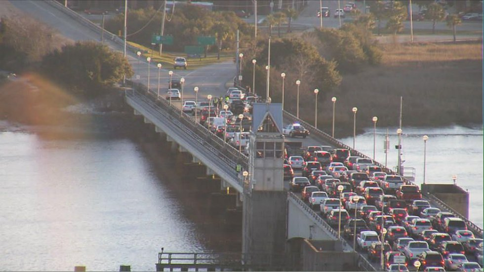 An accident closed two lanes on the Ashley River Bridge Tuesday morning.
