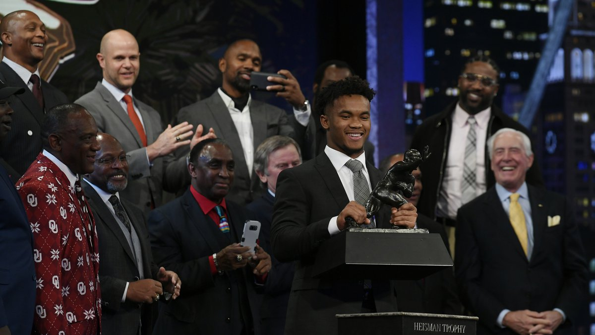 Kyler Murray from Oklahoma wins the Heisman Trophy show on Saturday, Dec. 8, 2018 in New York,...