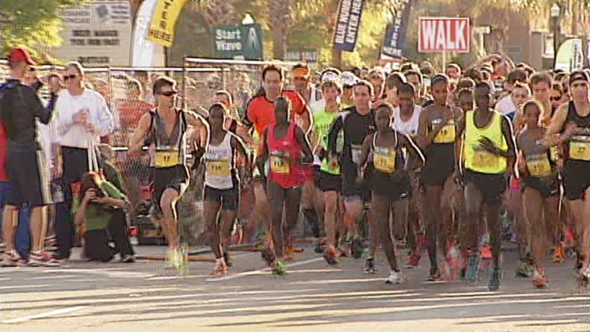 Runners start the Cooper River Bridge run in 2013. (Source: Live 5)