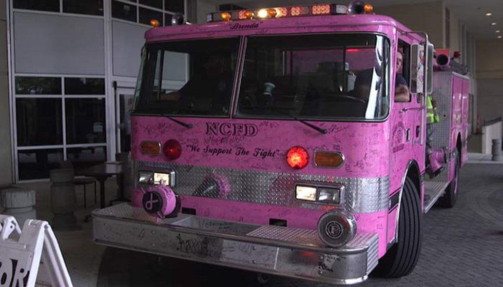 The North Charleston Fire Department will bring its special pink fire truck by Trident Medical...
