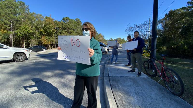 Charleston National homeowners protest a proposed gas station on Highway 17