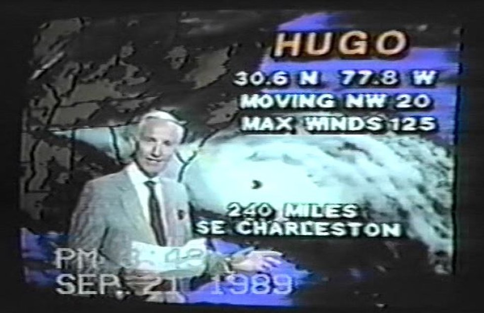 The late Charlie Hall anchored coverage of Hurricane Hugo's approach on Sept. 21, 1989....