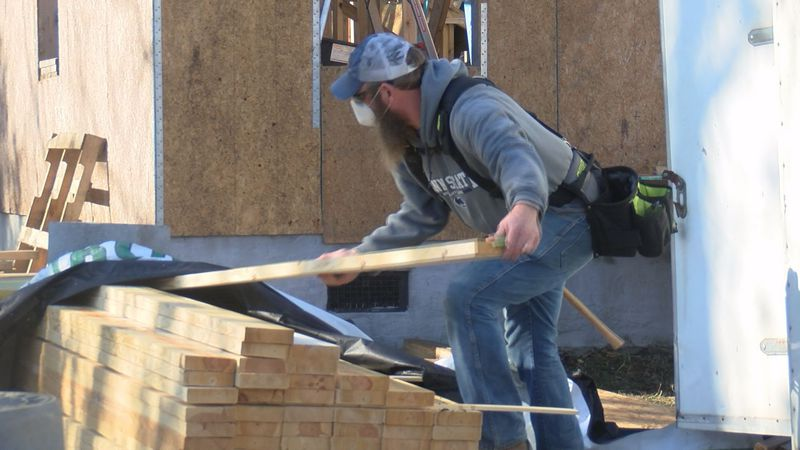 Volunteers with Habitat for Humanity are back to building a North Charleston home after the...
