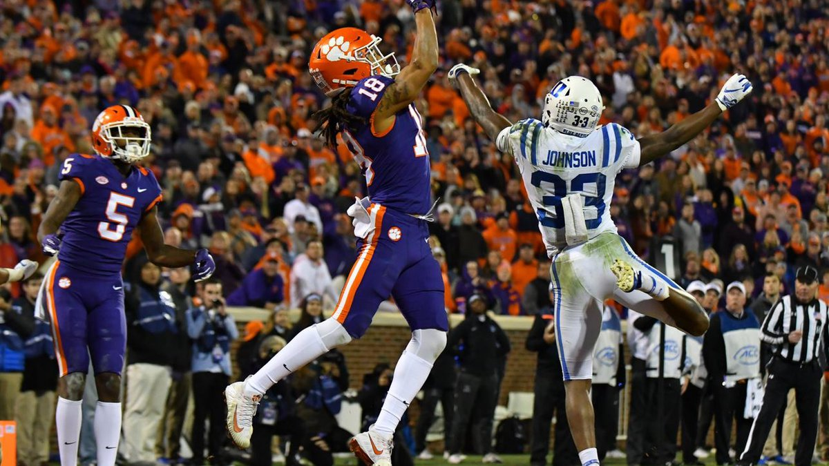 T.J. Chase catches a touchdown versus Duke Saturday in Memorial Stadium at Clemson University.