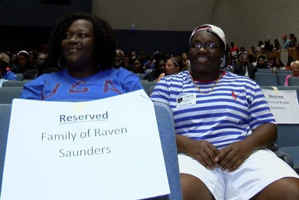 Clarissa and Raven Saunders at Burke on Thursday. (Source: WCSC)