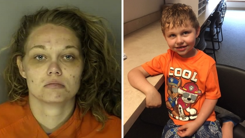 The mother of a 5-year-old boy was arrested after police said she left him alone with a...