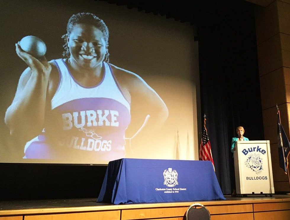 Ceremony at Burke honoring Raven Saunders on Thursday. (Source: WCSC)