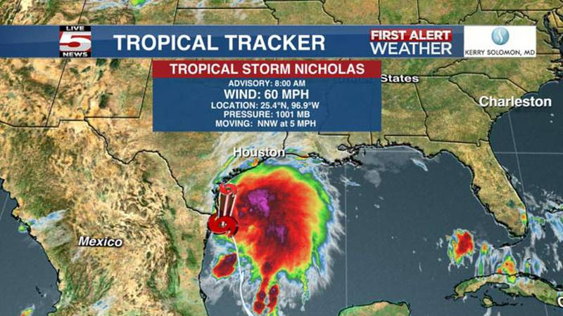 Tropical Storm Nicholas is expected to reach hurricane strength prior to landfall in Texas.