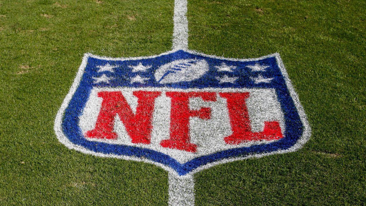 In this Nov. 4, 2018 file photo, the NFL logo is displayed on the field at the Bank of America...