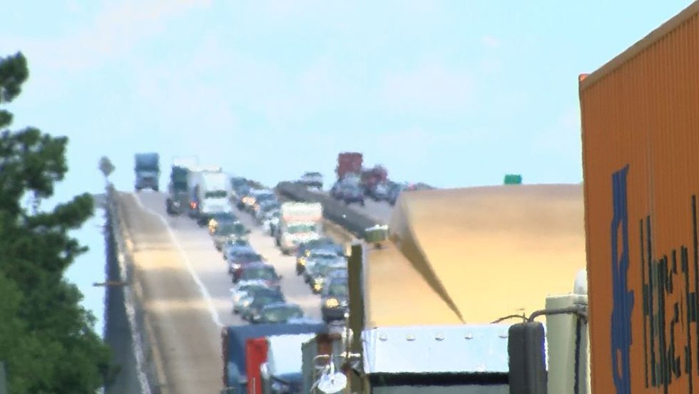 Traffic on I-526EB was backed up much of Monday. (Source: Live 5)