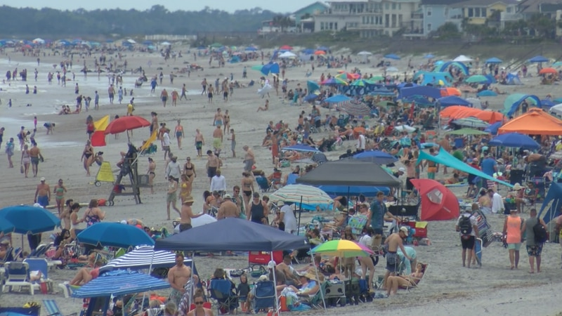 At peak hours, traffic backed up for miles trying to get onto Folly beach as an estimated...