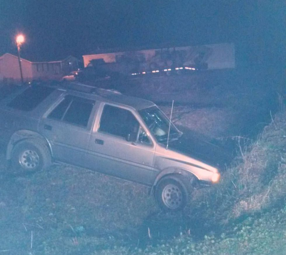 Photo of wrecked alleged getaway vehicle. (Source: Provided)