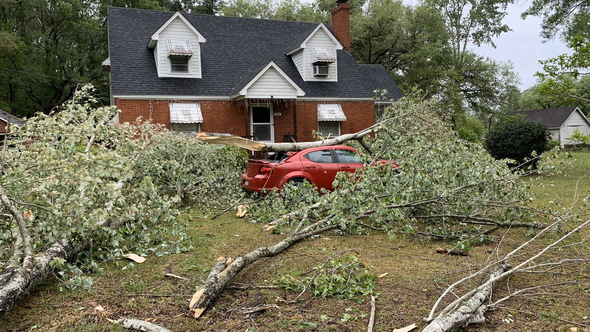 Damage from Monday morning's storm can be seen along Highway 17 near Georgetown County.