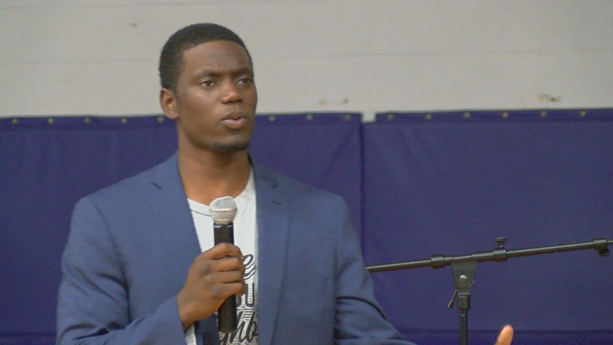 Professional Baseball Player Chris Singleton offers inspirational speech to Elder High School...