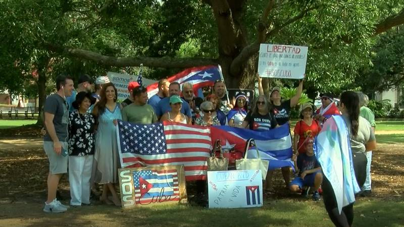 Around two dozen people gathered on Sunday in Marion Square to rally in support of the Cuban...
