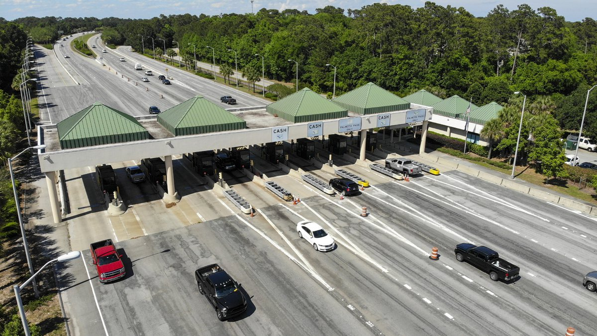 Image of the Cross Island Parkway toll plaza on Hilton Head Island, S.C. Photographed May 6,...