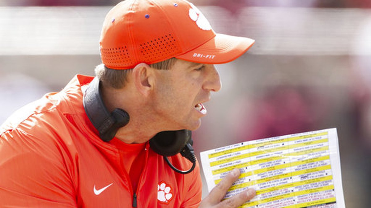 Clemson head coach Dabo Swinney in the first half of an NCAA college football game against...